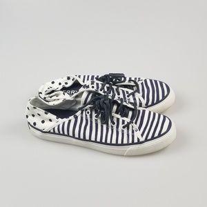 Sperry Shoe Sneaker Stripe Polka Dot Navy White